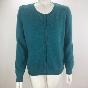 Jaclyn Smith 100% Cashmere Button Cardigan Large